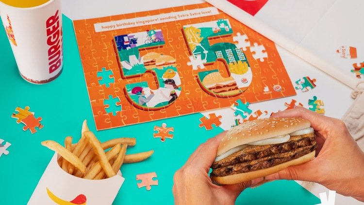 Deliveroo and BURGER KING® reunite to celebrate Singapore's 55th with a Limited-Edition Foodie Jigsaw Puzzle